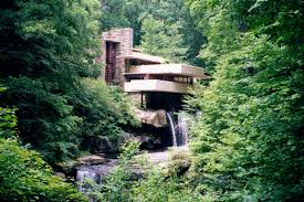 large photographs of fallingwater kaufmann house above waterfall