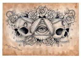 illuminati and skull chest tattoo design scanned by