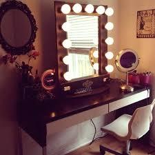 vanity table with lights around mirror decorative desk decoration