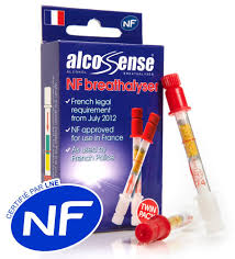 2 x alcosense french nf certified breathalyzer kits for france