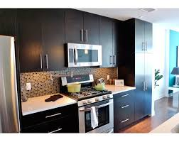 Full Wall Kitchen Cabinets Kitchen Island Modern Industrial Single Wall Kitchen Idea Black