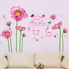 pink daisy flower wall sticker dacals purple sunflower plants pink daisy flower wall sticker dacals purple sunflower plants pegatinas wallpaper women girls home bedroom living room decor in wall stickers from home