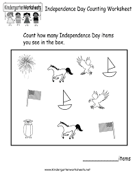 free printable independence day counting worksheet for kindergarten