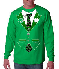 halloween t shirts for men tuxedo tshirts irish shamrock tie tuxedo long sleeve t shirt