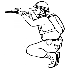 free printable military soldier squatting coloring pages for boys