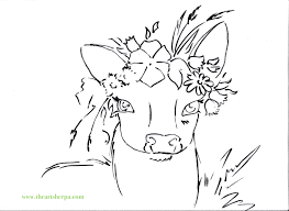 deer with floral crown viviva watercolor traceable for the art