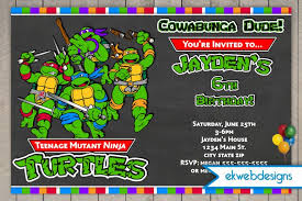 ninja turtle birthday invitation template