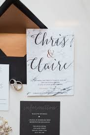 chris and claire marble and mixed metallic wedding invitations