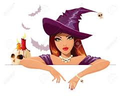 halloween witch with blank banner royalty free cliparts vectors