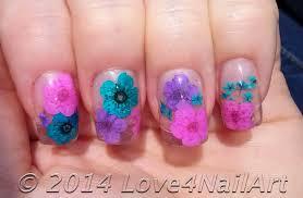 love4nailart encapulated dried flower acrylic nails