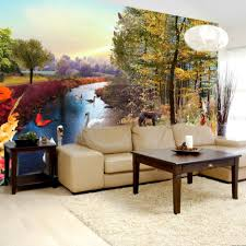 living room cherry blossom in the winter living room wall murals river and forest living room wall mural multicolor bespoke wallpapers scenery living room wall mural idea