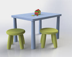 Ikea Kids Chairs Chairs And Table Kids Solidworks 3d Cad Model Grabcad