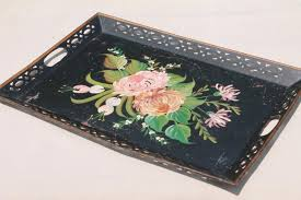 painted serving platters antique vintage toleware serving tray shabby painted flowers tole