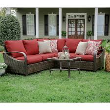 Wicker Patio Furniture Trenton 4 Piece Wicker Outdoor Sectional Set With Blue Cushions