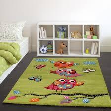 Modern Kids Rug Kids Carpet Cute Owls Modern Children Rug In Green Cream Red Blue