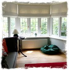 Living Room Curtains Blinds Lined And Interlined Roman Blinds For A Bay Window Made By Www
