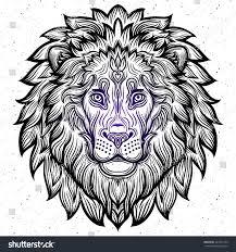 detailed lion aztec filigree line art stock vector 441877249
