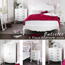 juliette shabby chic white double bed 5pc bedroom suite 4ft6 bed