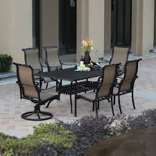 Aluminum Patio Dining Set Shop Darlee Monterey Bay 7 Antique Bronze Aluminum Patio