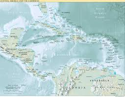 central america physical map interopp org physical map of central america and the caribbean 1999