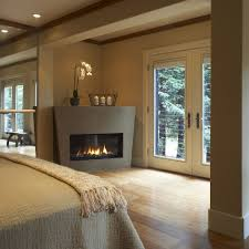 gas fireplace bedroom contemporary with wood molding asian