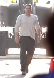 ben affleck on set of live by night with giant back tattoo lainey