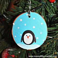 fingerprint penguin wood slice ornament penguins