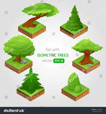 set isometric tree style can stock vector 425558782
