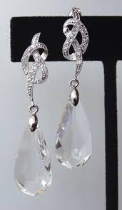 drop earrings wedding cubic zirconia knot swarovski drop post stud dangle