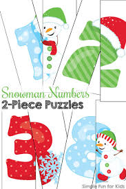 day 4 snowman numbers 2 piece puzzles simple fun for kids