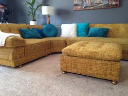 Yellow Sectional Sofa Free Shipping Mid Century Mod Vintage Yellow Tweed Boucle Wool