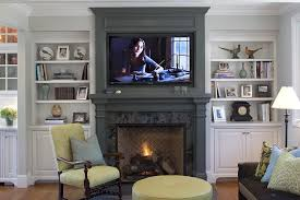 Mounting A Tv Over A Gas Fireplace by Stone Gas Fireplace Mantel Family Room Traditional With Wall Mount