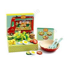 djeco cuisine djeco salad set wooden and felt ingredients toys
