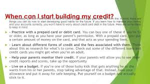 prepaid credit card to build credit the basics of building credit ppt