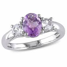 amethyst stone rings images Oval amethyst and lab created white sapphire three stone ring in jpg
