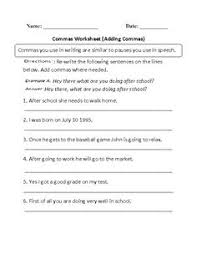 comma worksheet 3 worksheets punctuation and chang u0027e 3