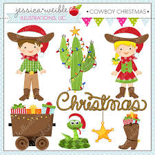 cowboy christmas cute digital christmas clipart for commercial or