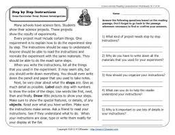 step by step instructions 2nd grade reading comprehension worksheets