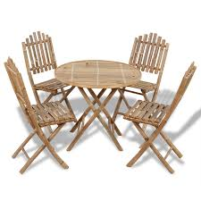 brown set outdoor folding dining table 1 and 4 bamboo chairs