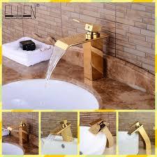 waterfall golden bathroom sink faucet gold bath faucets single