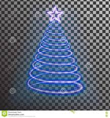 blue neon christmas tree light tree effect with big star stock