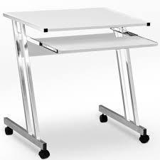 bureau avec plateau coulissant bureau informatique avec tiroir coulissant clavier 62x48x73cm blanc