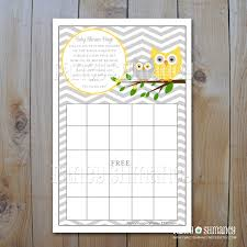 owl baby shower bingo game card yellow and grey chevron owls
