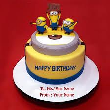 minion birthday cake write name on minions theme birthday cake picture