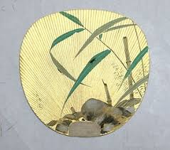 uchiwa fan pair of uchiwa fan firefly and bamboo on gold leaf item 1118797
