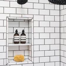 white subway tiles with black grout design ideas