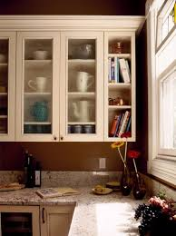 Dark Wooden Kitchen Corner Cabinet With Glass Shelves Design - Glass shelves for kitchen cabinets