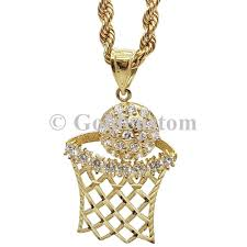 necklace diamond gold images Basketball pendant rope chain necklace diamond gold charm hoop new jpg