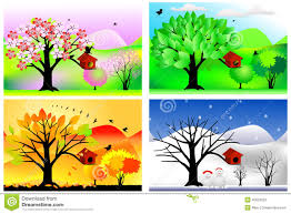 four seasons stock vector image of autumn floral background