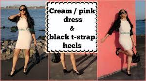 crossdresser stockings high heels crossdresser cream beige pink ish dress and black t strap high